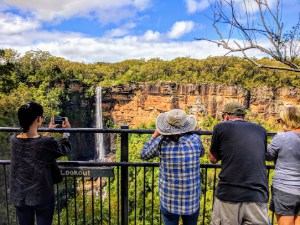 View of Fitzroy Falls after a short hike along the edge of the Yurranga Valley in Morton National Park - Wildlife, Waterfalls & Wine day tour from Sydney
