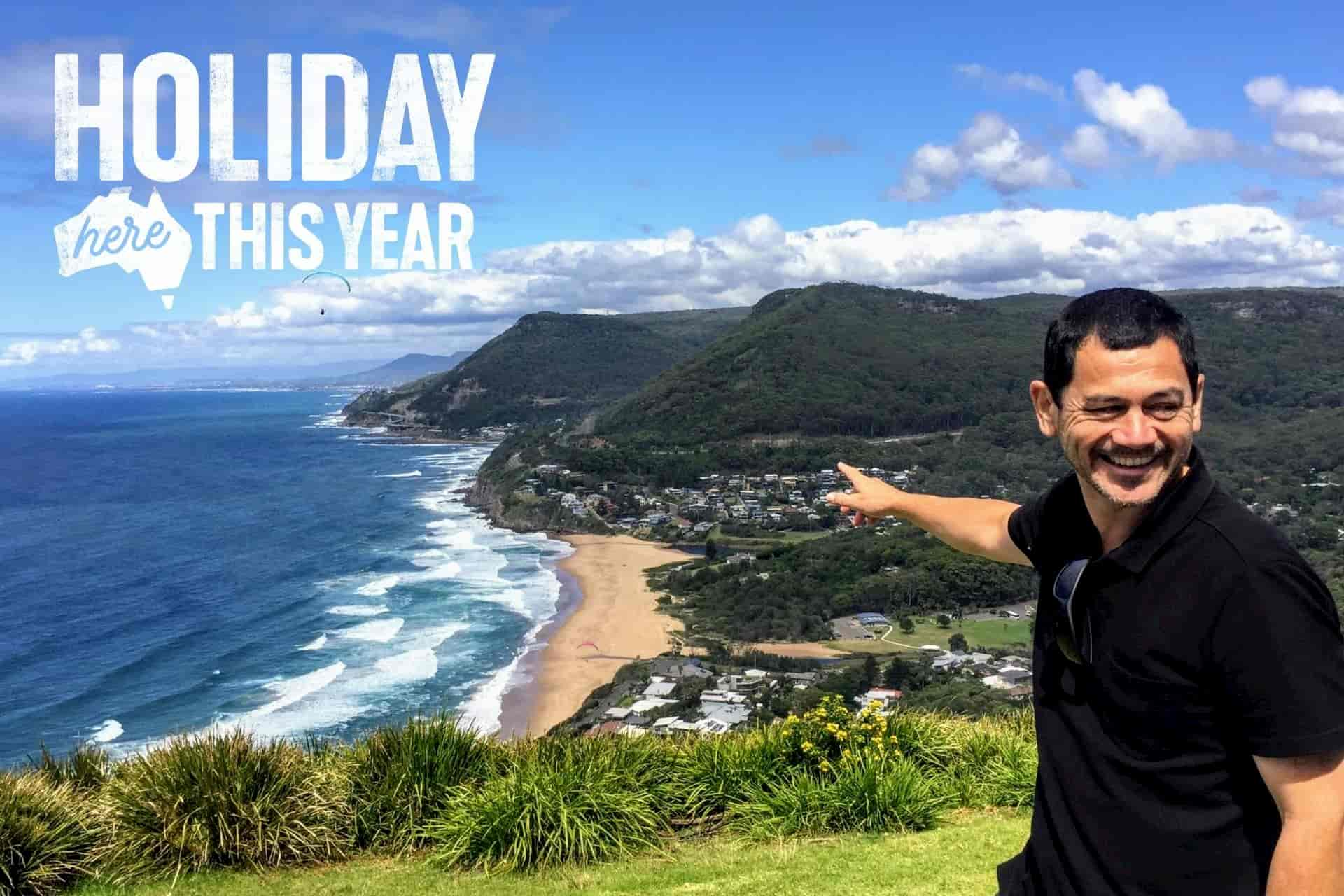 Holiday Here This Year Gift Vouchers -Steve @ Bald Hill lookout on the Wildlife, Waterfalls and Wine full day tour from Sydney with Local Travel Planner